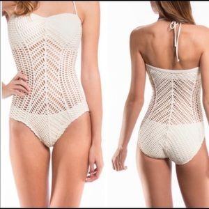 Robin Piccone Sophia crochet one piece swimsuit